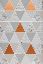 Wallpaper Zento Matt Triangles White Grey tones Light grey beige Copper shimmer