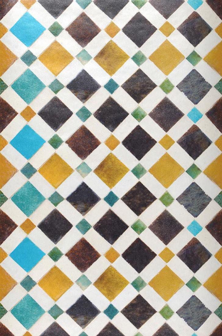 Feria blanc cr me brun fonc bleu ciel jaune ma s - Papiers peints des annees 70 ...