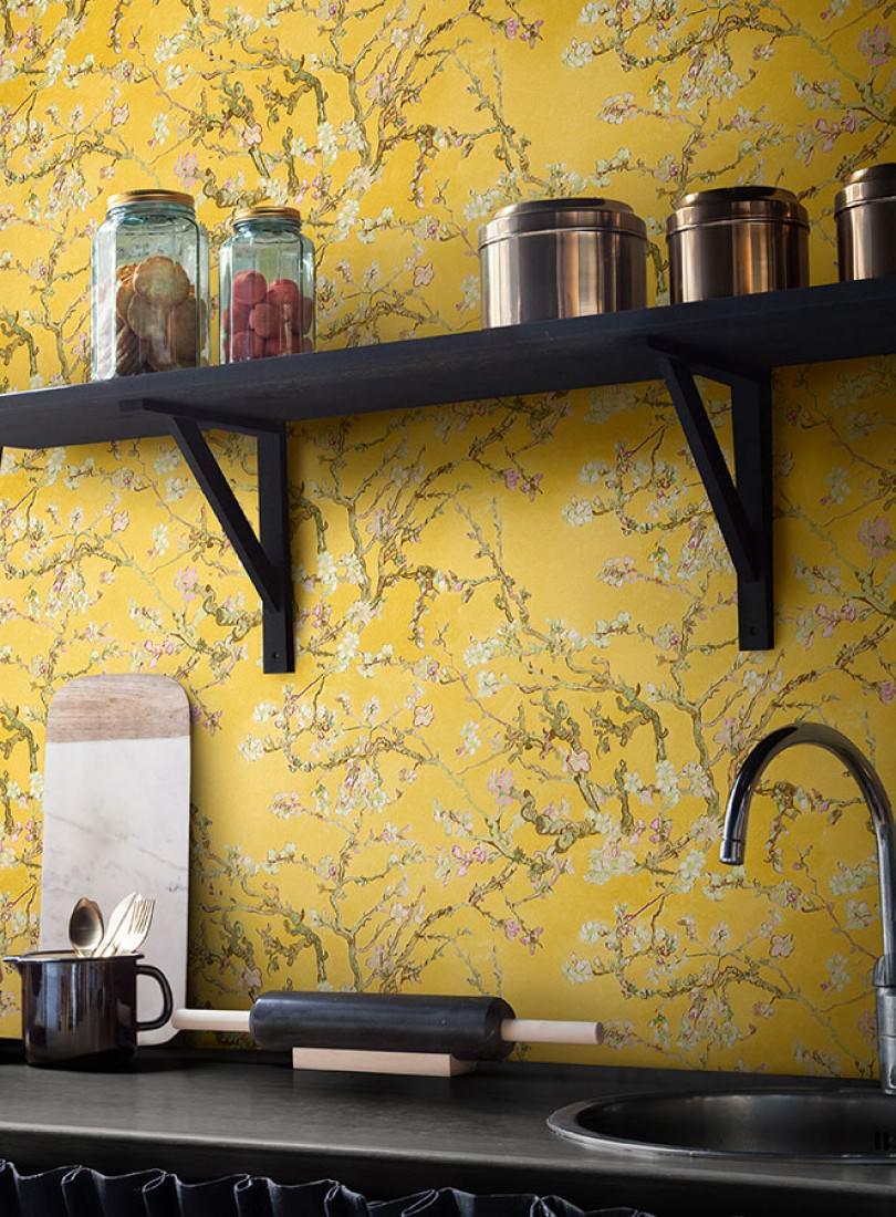Vangogh blossom amarillo verde p lido marr n verde - Papel pintado de los 70 ...