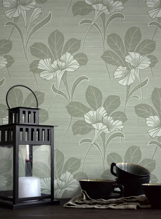 Wallpaper Esther Hand printed look Matt Leaves Blossoms Grey green Green white