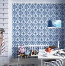 Wallpaper Borromeo Matt Oriental Tiling Motif Blue Dark blue Light blue White
