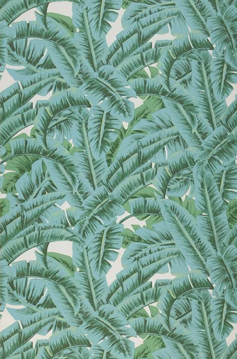Wallpaper Flavia Matt Leaves Cream Shades of green Pastel turquoise
