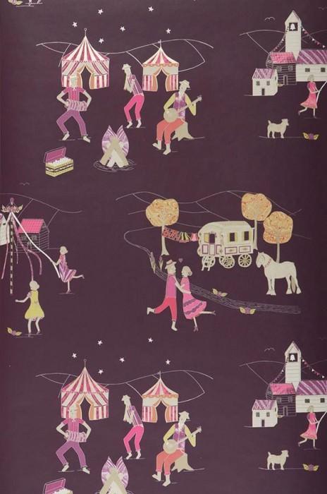 Wallpaper Cosima Matt Trees Houses People Dark violet Gold Light ivory Rose