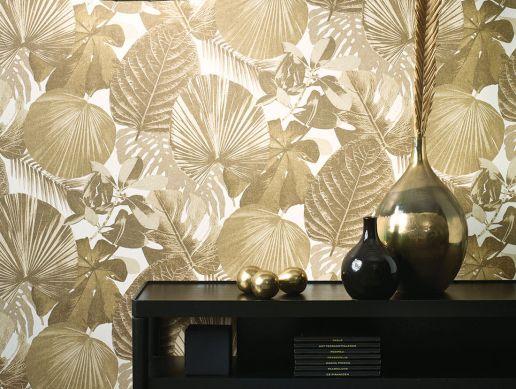 Papel pintado Venaria gris caqui Ver habitación