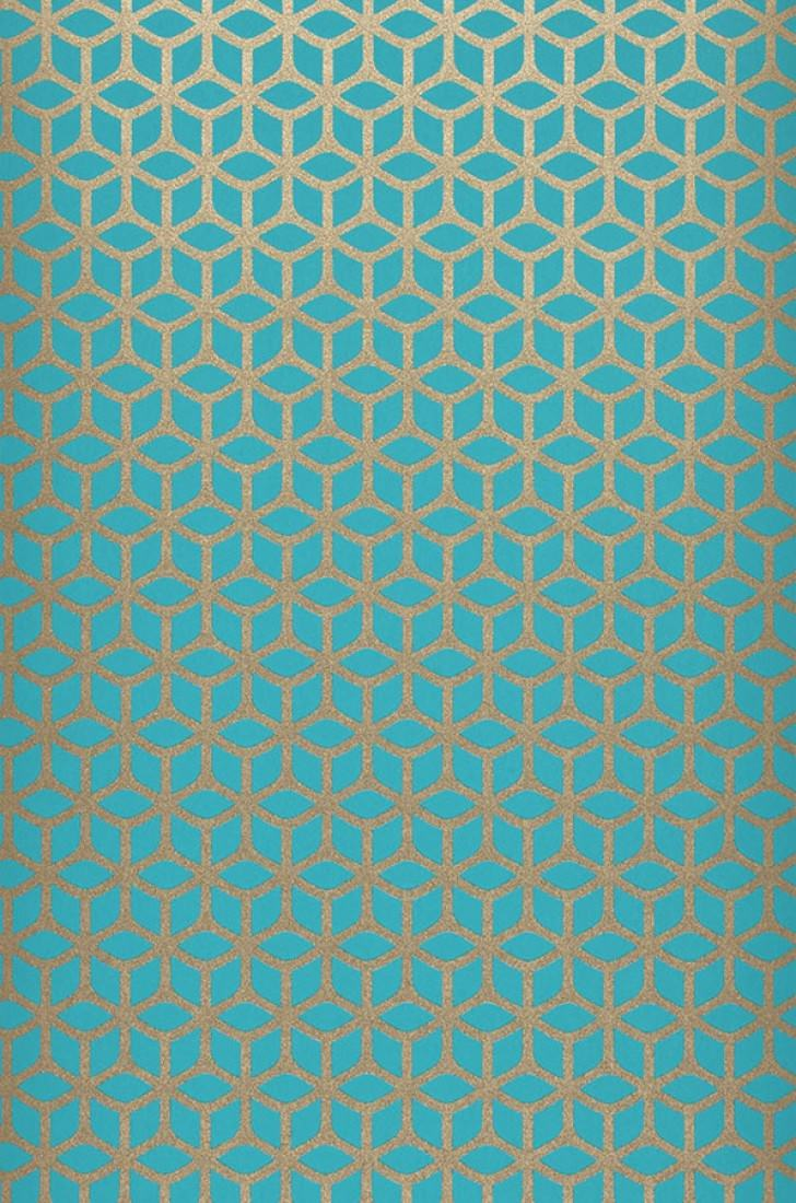 Zelor azul turquesa oro blanco brillante papel for Papel pintado azul turquesa