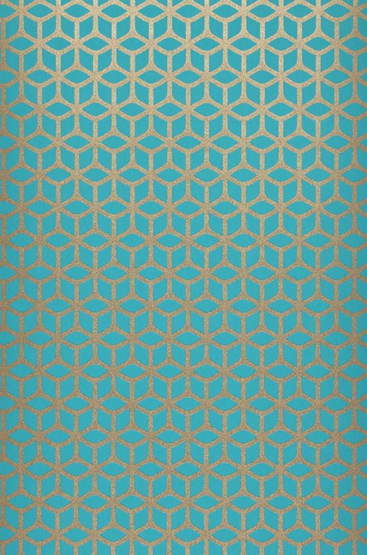 Zelor azul turquesa oro blanco brillante papel pintado glamuroso patrones de papel - Papel pintado turquesa ...