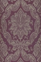 Wallpaper Heigold Matt Looks like textile Baroque damask Dark violet Light grey glitter