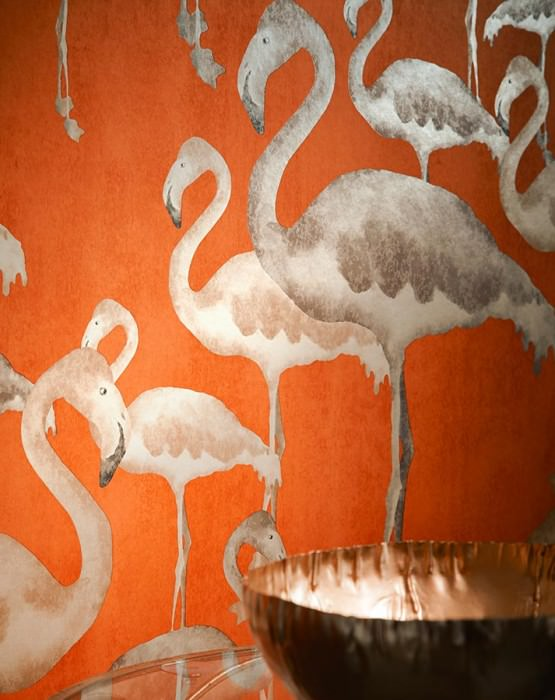 Wallpaper Amidala Shimmering pattern Matt base surface Flamingos Orange Beige brown Grey brown