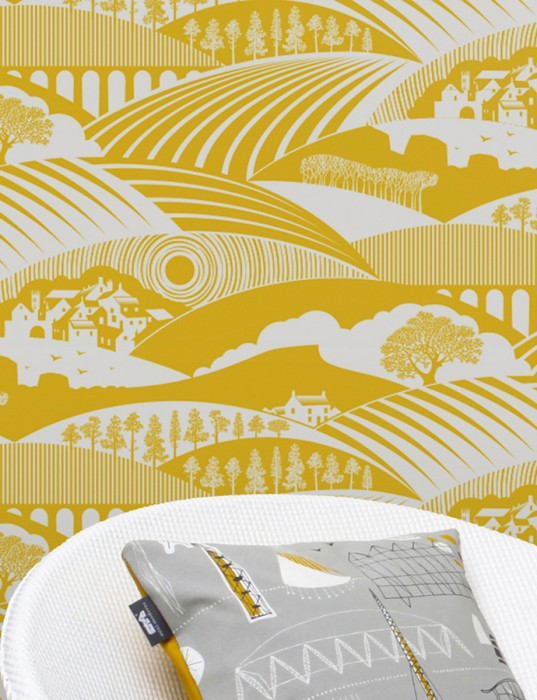 Wallpaper Ludovic Matt Trees Houses Landscape Grey white Lemon yellow