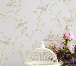 Wallpaper Thelma Hand printed look Matt Birds Branches with leaves and blossoms White aluminium Pale brown Light grey beige Pastel violet Reed green