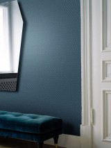 Wallpaper Arkadias Shimmering pattern Matt base surface Hexagons Dots Grey blue Pastel turquoise Pearl blue Silver shimmer