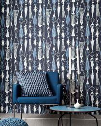 Papel pintado Lodur azul grisáceo claro