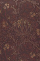 Wallpaper Andastra Matt Artichoke Blossom Leaves Rosewood Anthracite Brown red Pearl gold Black red