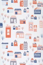 Wallpaper Village Matt Trees Houses Cream Blue Grey Rosewood Red
