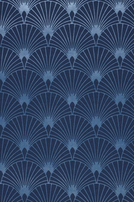 Art Deco Tapeten Tapete Babylone Dunkelblau A4-Ausschnitt