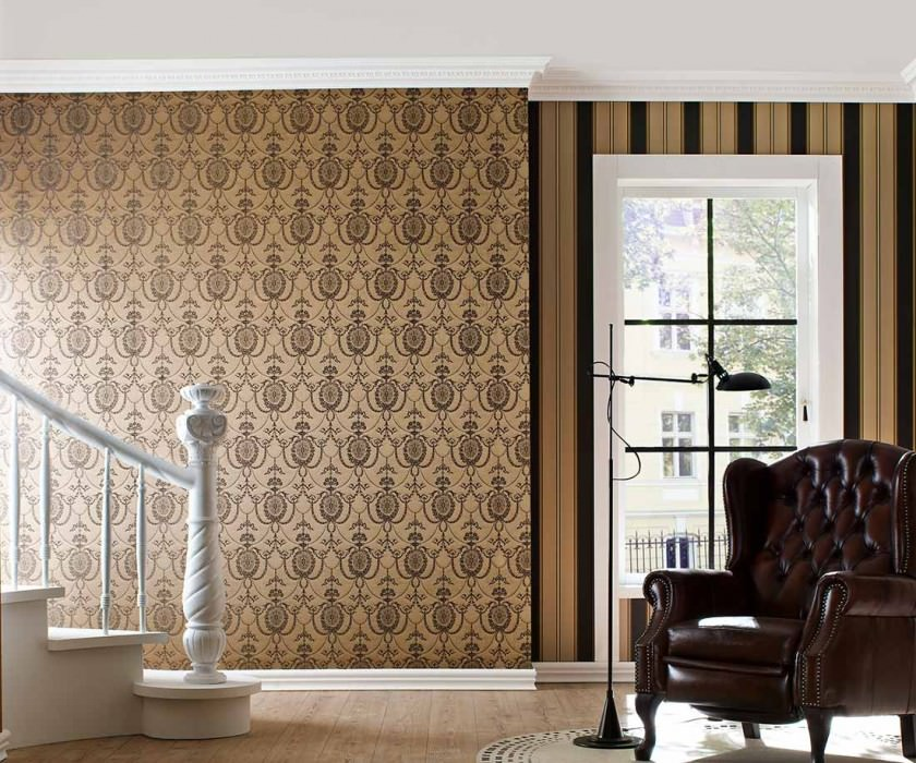 Wallpaper Pogoda Shimmering Looks like textile Baroque damask Cappuccino Silver grey shimmer