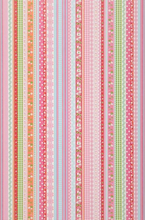 Wallpaper Hellen Matt Ribbons Stripes White Yellow green Light pink Orange Pastel light blue Red