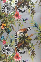 Wallpaper Madagascar Matt Monkeys Leaves Blossoms Animals Birds Silver Blue Brown Yellow Shades of green Rose