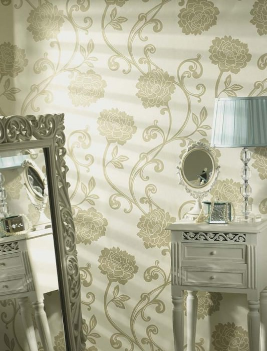 Wallpaper Antenor Matt Stylised flowers Cream Beige lustre Ivory