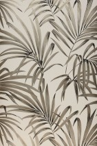 Wallpaper Almudena Shimmering pattern Matt base surface Palm fronds Cream Grey brown Pearl beige