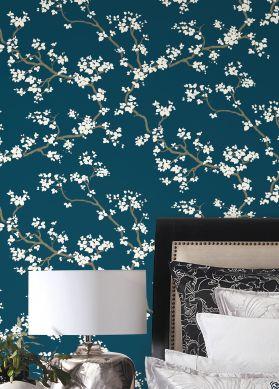 Papier peint Sakura bleu vert Raumansicht