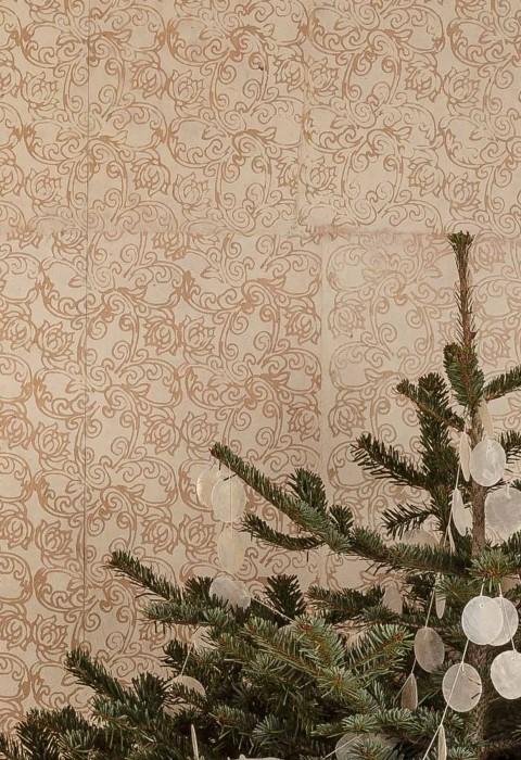 Papel de parede Laksmi Estilo Batik Impresso à mão Mate Shabby chic Damasco floral Bege Branco creme