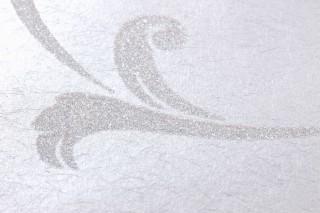 Wallpaper Iwana Shimmering Leaf tendrils White aluminium White shimmer