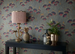 Wallpaper Tambika Hand printed look Matt Leaves Blossoms Ochre  Anthracite grey Cream Strawberry red Black
