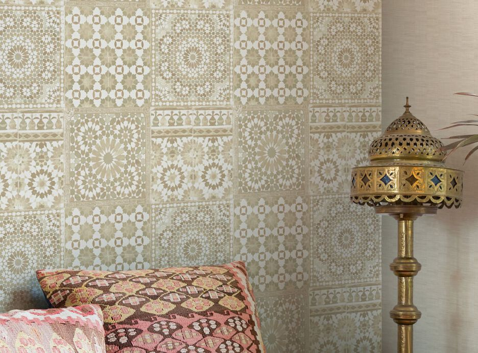 Archiv Wallpaper Azulejos beige Room View