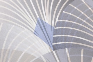 Papier peint Sabia Mat Éventails art déco Gris beige Gris bleuté chatoyant Blanc crème Beige gris brillant Bleu gris