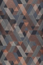 Wallpaper Pegasus Matt Triangles Rhombuses Black grey Cream Light blue Copper shimmer