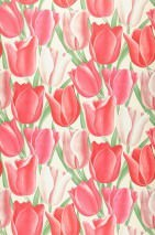 Wallpaper Kalwadi Matt Tulips Cream Pale red Green Raspberry red