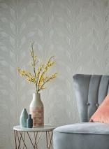 Wallpaper Fadila Matt pattern Shimmering base surface Art Deco Stylised blossoms Cream shimmer
