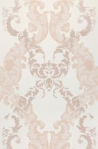 Wallpaper Siemara Shimmering pattern Matt base surface Baroque damask Cream Pale rosewood Rosewood Rosewood shimmer