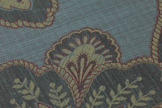 Wallpaper Mitra Matt Floral damask Blue grey Claret violet shimmer Dark grey Green beige