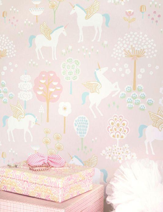 Papel de parede Majvillan Papel de parede True Unicorns rosa pálido Ver quarto