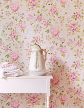 Wallpaper Swetta Matt Flower tendrils Dots Birds Pale pink Green Rose Red violet White