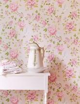 Papel de parede Swetta Mate Flores gavinhas Pontos Pássaros Rosa pálido Verde Violeta avermelhado  Branco