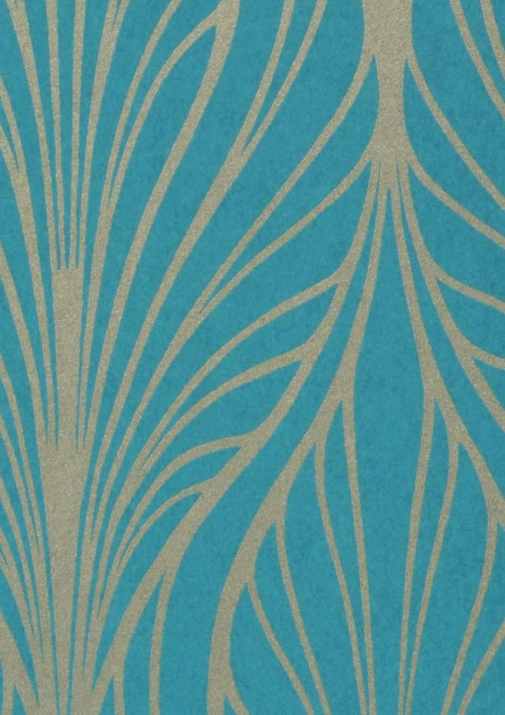 Papier peint pemba bleu turquoise dor papier peint des ann es 70 - Papier peint bleu turquoise ...