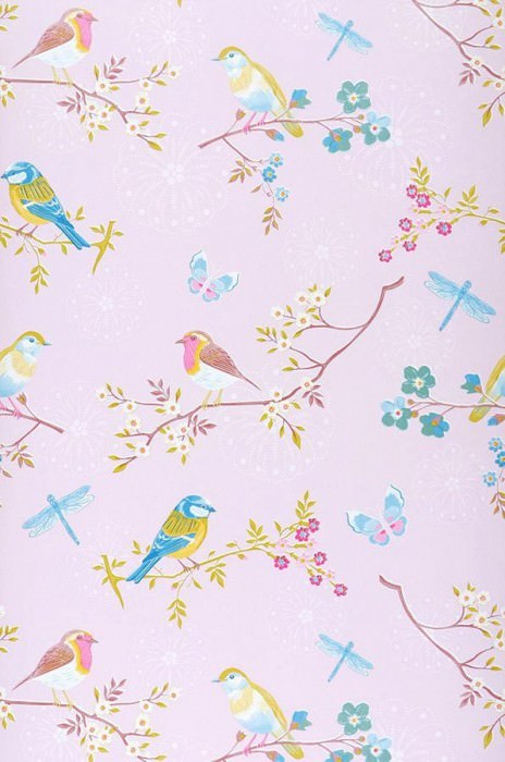 Wallpaper Audrey Matt Blossoms Butterflies Birds Pale pink Heather violet Yellow Light blue Copper brown White