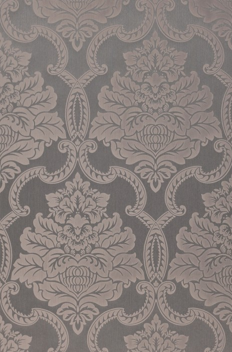 Wallpaper Amalia Matt pattern Shimmering base surface Baroque damask Beige grey Pastel brown