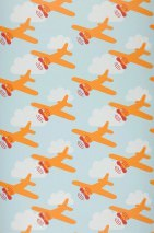 Papel de parede David Mate Aviões Nuvens Azul claro pastel Laranja Vermelho Branco