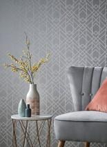 Papier peint Baya Aspect impression à la main Motif mat Surface chatoyante Art Déco Éléments graphiques Aluminium blanc Blanc gris