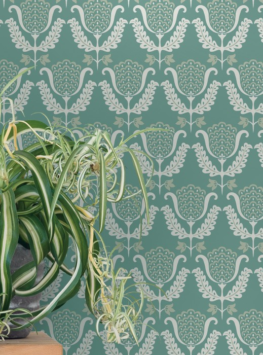 Wallpaper Zarina Hand printed look Matt Art nouveau Stylised flowers Pastel turquoise Pearl beige White