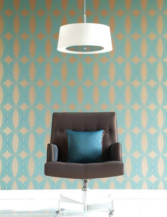 Wallpaper Athena Matt pattern Shimmering base surface Ellipses Gold Turquoise