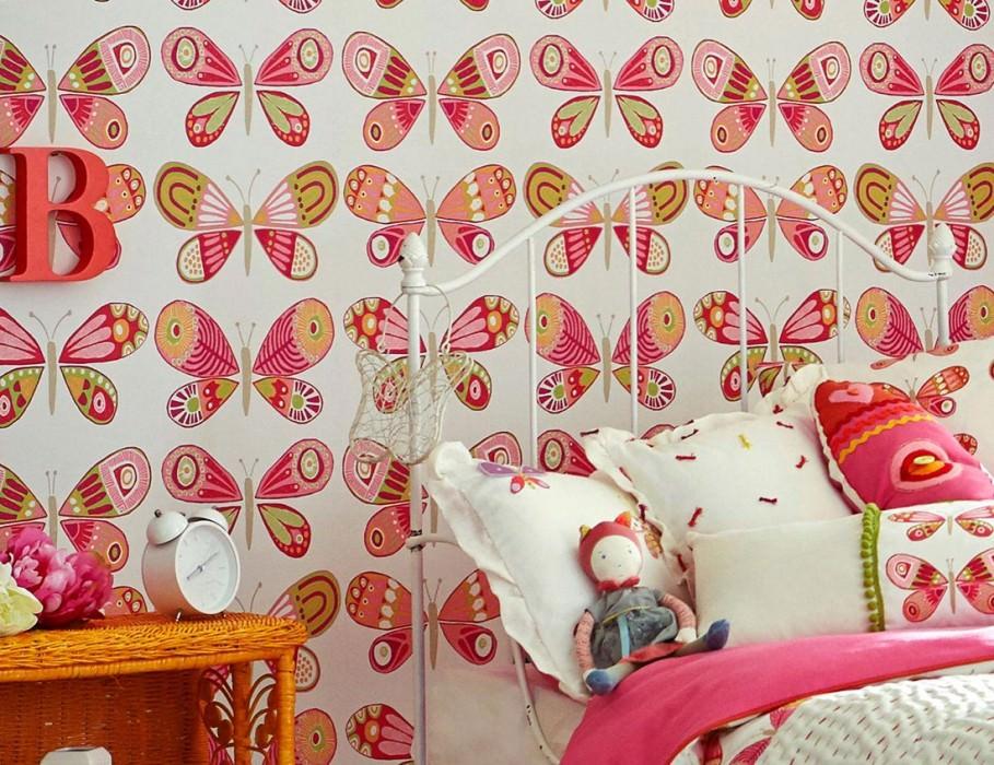 Papel pintado Fantasy Butterflies Mate Mariposas Blanco crema Beige Verde amarillento claro Magenta Rosa Rojo