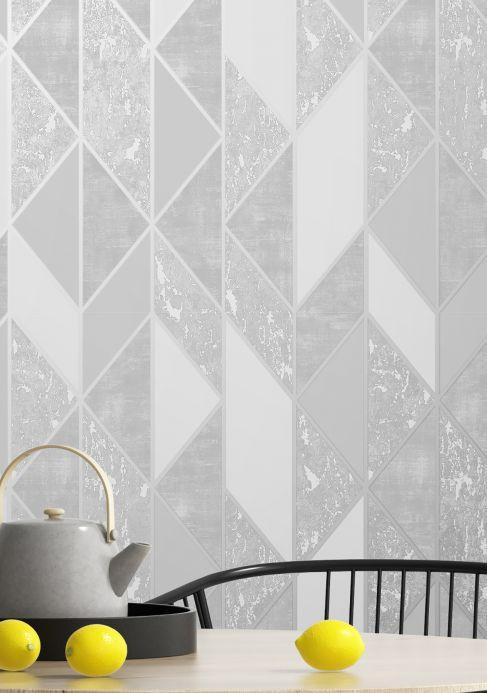 Papel pintado geométrico Papel pintado Lasmo aluminio blanco Ver habitación