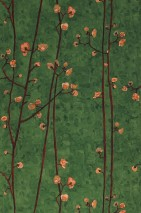 Wallpaper VanGogh Branches Matt Branches with blossoms Leaf green Beige red Pale green Mahogany brown Orange