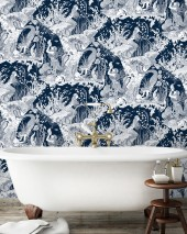 Wallpaper Mermaids Matt Fishes Shells Meerjungfrauen Dark blue Cream