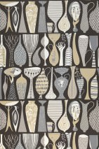 Wallpaper Linette Hand printed look Matt Faces Vases Black brown Beige Cream Grey Grey beige